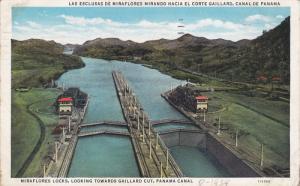 Miraflores Locks, Looking towards Gaillard Cut, Panama Canal, PU-1934
