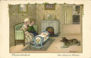 Artist Signed Pauli Ebner, Doll Wedding, A Happy Nook (1930s)