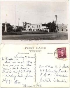 View Card - 1952 Broadview Sask. Actual Photo Card Used