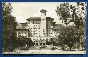 Colorado Springs co Front Vista of Broadmoor Hotel real photo postcard RPPC