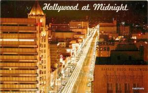 1950s Night Hollywood California Western Publishing postcard 11210