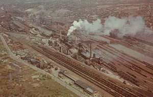 YOUNGSTOWN, Ohio, 1940-1960s; Aerial view of industrial area of the city