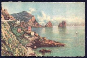 Faraglioni Rocks & Marina Naples by Carelli unused c1940's
