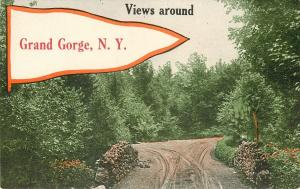 Grand Gorge New York~Stone Bridge~Fork in the Road~1914 Pennant Postcard