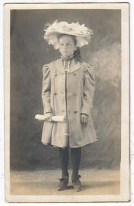 RPPC, Young Girl with a Fancy Hat