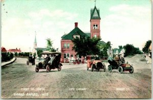 Grand Rapids, Wisconsin Postcard FIRST STREET NORTH Library / Cars 1925 Cancel