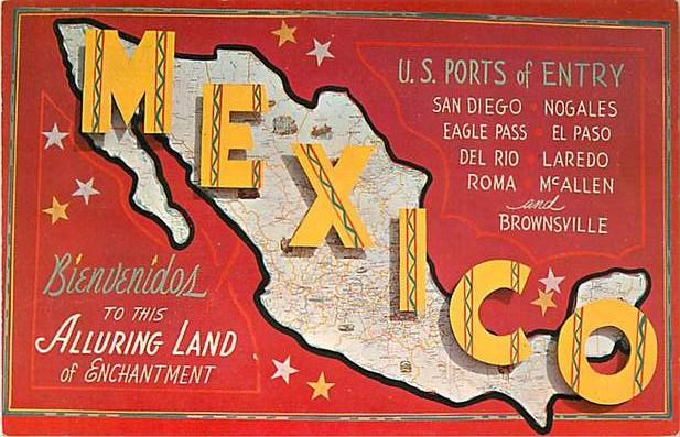 Mexico, U.S. Ports of Entry, Map Card, Chrome