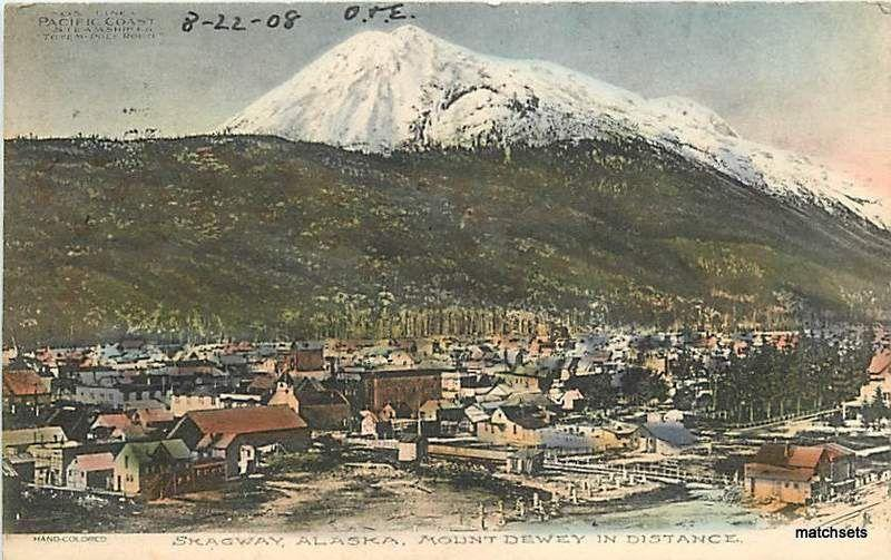 1908 HAND COLORED SKAGWAY, ALASKA Mount Dewey in Distance hand colored 3795