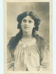 1905 rppc ZENA DARE - PRETTY BRITISH STAGE ACTRESS & SINGER r6366