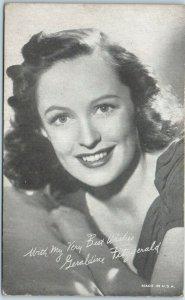 Vintage 1940s Mutoscope / Arcade Card GERALDINE FITZGERALD Movie Actress Unused