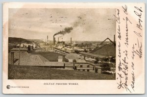 Syracuse NY~Smokestacks~Train Tracks Thru Solvay Salt Ash Process Works~1906 PC
