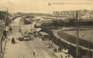 belgium, BLANKENBERGHE, Ostende Road with Park, Tennis Tram (1924)