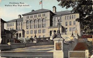 Fitchburg Massachusetts~Wallace Way High School~1913 Postcard