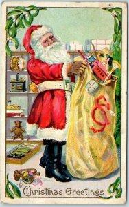 1911 SANTA CLAUS Christmas Postcard Red Suit, Filling Bag of Toys in Workshop