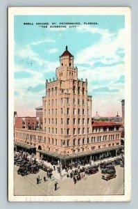 St Petersburg FL, Snell Arcade, Automobiles, Vintage Florida c1935 Postcard