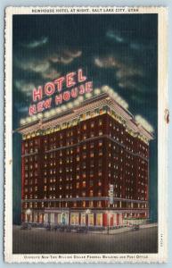 Postcard UT Salt Lake City Newhouse Hotel at Night Vintage Linen N11