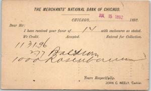 Chicago, Illinois Postcard MERCHANTS' NATIONAL BANK Statement Card 1892 Cancel