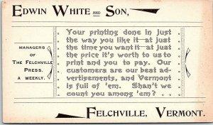 Ephemera VT Edwin White & Son Managers Felchville Press Weekly Business Card