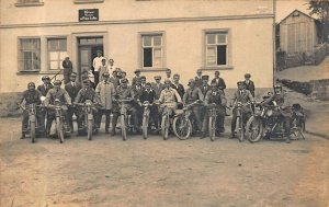 Germany Butcher's Shop Anlon horler Motorcycle Group Real Photo Postcard