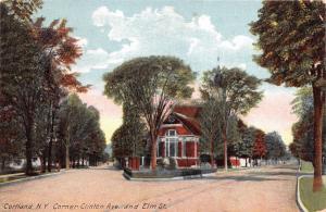 CORTLAND NEW YORK CORNER OF CLINTON AVENUE & ELM STREET POSTCARD 1910