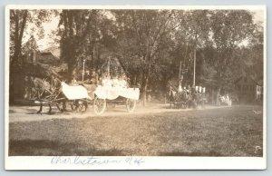 South Charlestown New Hampshire~Rural Parade~Horse-Drawn Floats~RPPC c1910