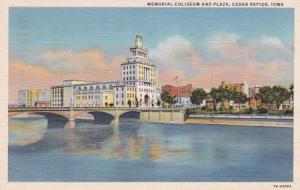 Iowa Cedar Rapids Memorial Coliseum and Plaza 1943 Curteich
