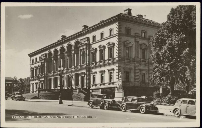 australia, MELBOURNE, Spring Street, Treasury, Car (1950s) RPPC