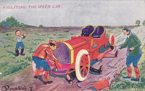Humour Violating The Speed Limit Men With Broke Down Old Car 1909 Signed Dona...