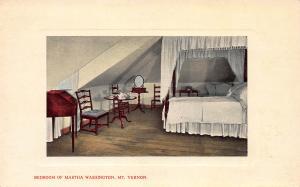 Bedroom of Martha Washington, Mt. Vernon, Virginia, Early Postcard, unused