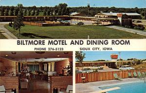 Sioux City Iowa~Biltmore Motel & Dining Room~1950-60 Cars~Pool~Postcard