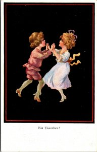 EIN TANZCHEN - GERMAN DANCING - Postcard Old Vintage Card View Standard PC