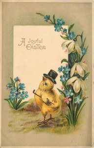 Fantasy Easter~Chick~Top Hat~Monocle~Cane~Forget-Me-Nots~Snowdrop Lilies~Emboss