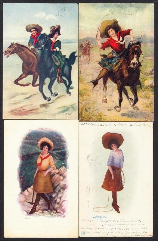 Cowgirl Art Lot of 7 Postcards 1900s-1910s