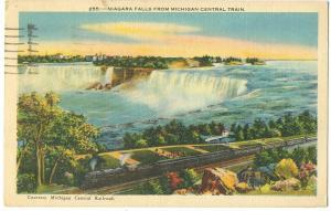 Niagara Falls from Michigan Central Train, 1945 used linen Postcard
