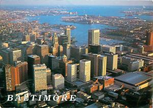 Baltimore Maryland Aerial View City View Harbor Port  Postcard  # 7539