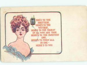 Divided-Back PRETTY WOMAN Risque Interest Postcard AA7860