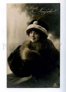 194017 NEW YEAR Lady in Fur FASHION Art Nouveau Vintage PHOTO