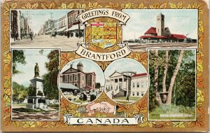 Greetings From Brantford Ontario ON Multiview c1911 Postcard F23