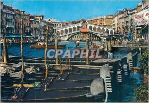 Modern Postcard Venezia Rialto Bridge Boat