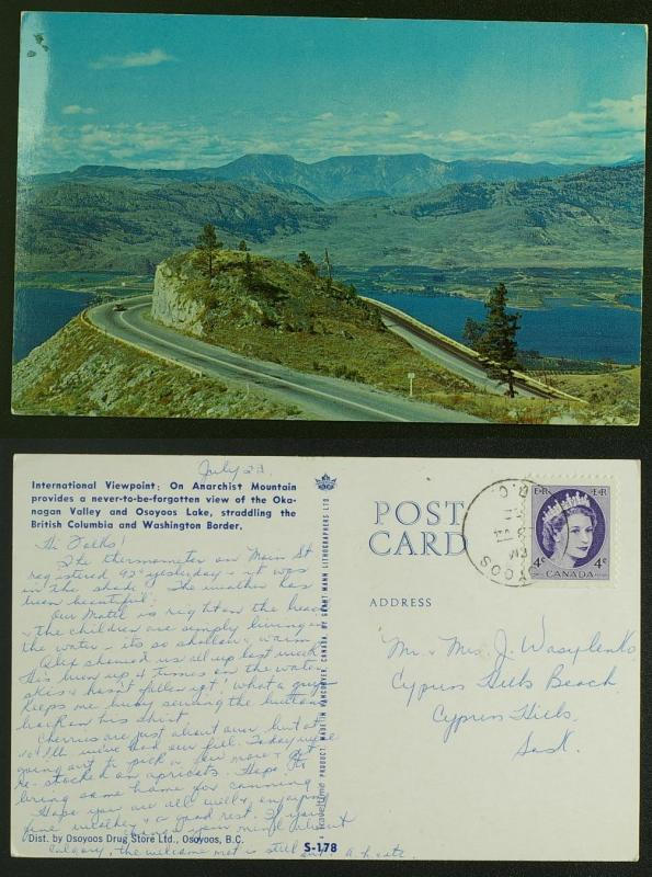 Osoyoos BC Anarchist Mountain view,  road CDS pmk 1962
