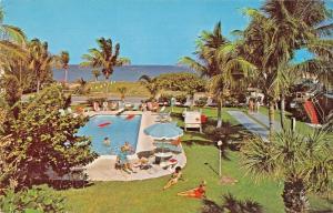 POMPANO BEACH FLORIDA~OLAHS OCEAN LODGE~POOL VIEW SCENIC OCEAN HWY POSTCARD 1968