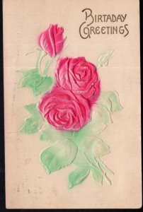 Birthday Greetings with Red Rose Flowers - Embossed - pm1909 - DB