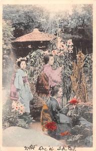 Japan Old Vintage Antique Post Card Women in Garden Unused
