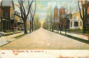 Wilkesbarre PA~Church Towers~Homes w/Big Porches on South Franklin Street~1912