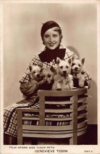 Film Stars and Their Pets Genevieve Tobin Postcard