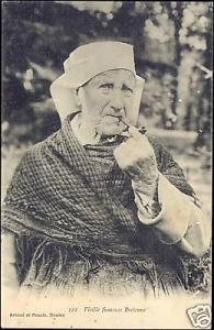 France, Old Pipe Smoking Breton Woman, Costumes (1915)