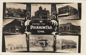RR: POCAHONTAS , Iowa , 1907 ; 8 view PC w/ Main Street (dirt)