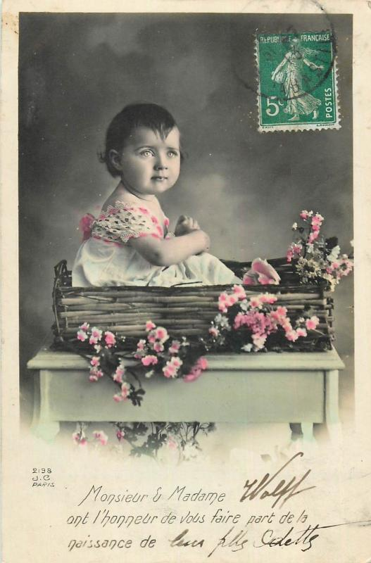 Children portraits topic vintage tinted postcard charm girl floral bascket