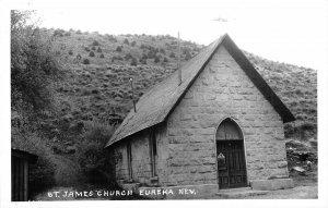 RPPC St. James Church, Eureka, Nevada ca 1950s Vintage Postcard