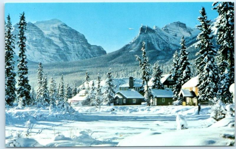 LAKE LOUISE, ALBERTA Canada   POST HOTEL  Snowy Canadian Rockies  Postcard